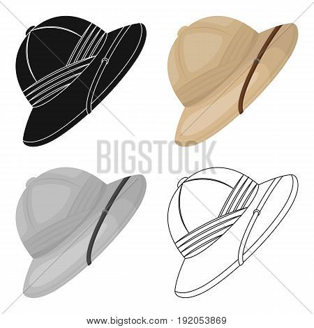 Cork hat from the sun.African safari single icon in cartoon style vector symbol stock illustration .