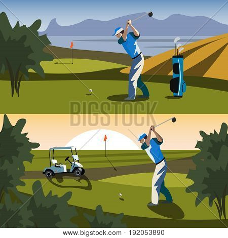The golfer will hit the ball towards the hole. Vecror illustration