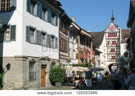 The Beautiful Medieval Town Of Stein Am Rhein On Switzerland
