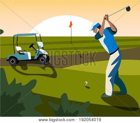 Banners vector image of sports equipment for Golf. The golfer will hit the ball towards the hole.