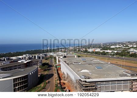 Commercial Urban Coastal Landscape Against Blue Durban City Skyline