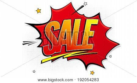 Sale pop art splash background, explosion in comics book style. Advertising signboard, price reduction, sale with halftone dots, clouds beams on white backdrop. Vector for ad, covers, posters.