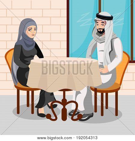 Eastern people having dinner in restaurant flat vector illustration