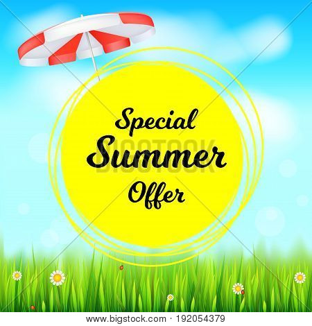 Special summer offer selling ad banner. Holiday discounts backdrop with big yellow sun, green field, white clouds and blue sky. Template for shopping, advertising signboard, price reduction poster.