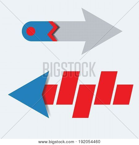 Creative Arrow vector 3d button icon or symbol interface for app, web and other design.