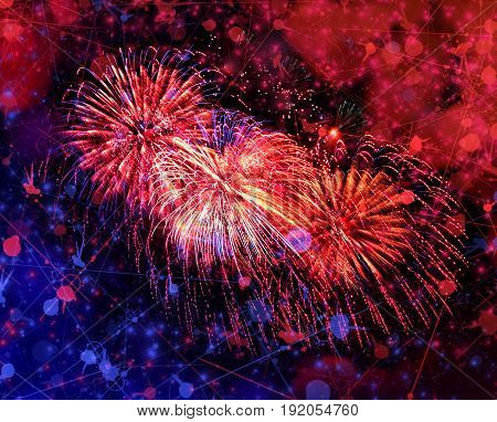 Celebratory beautiful color fireworks in a night sky
