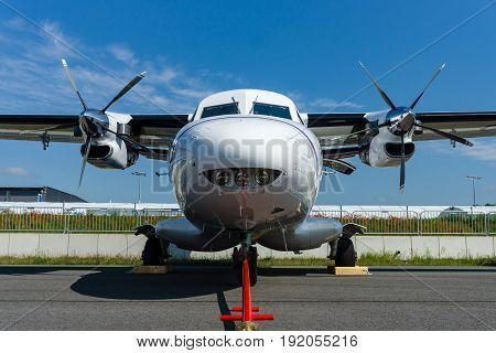 BERLIN GERMANY - JUNE 02 2016: A twin-engine short-range transport aircraft Let L-410NG Turbolet. Exhibition ILA Berlin Air Show 2016