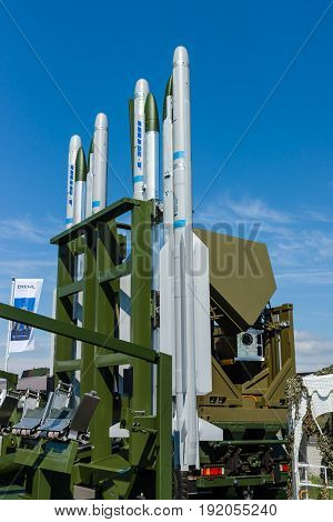 BERLIN GERMANY - JUNE 02 2016: Rockets of the launching missile station IRIS-T SLS of the company Diehl Defence. Close-up. Exhibition ILA Berlin Air Show 2016