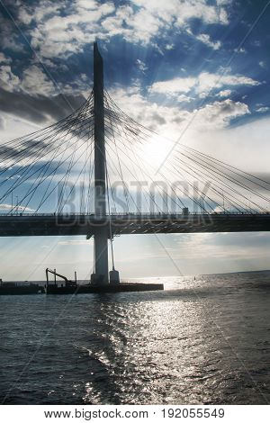 Cable-stayed Bridge In Summer Day