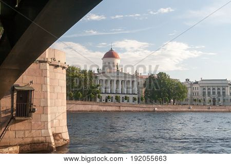 The Ancient Building On The Embankment In St. Petersburg