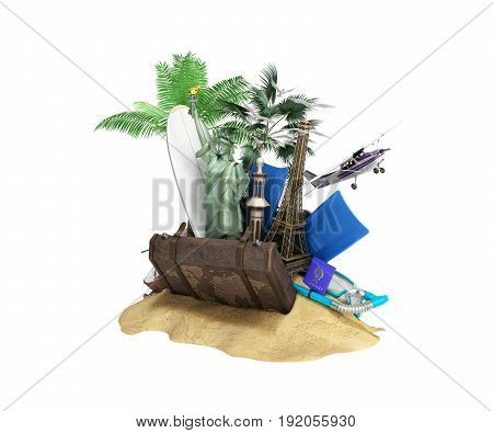 Concept Of Travel And Tourism Attractions And Brown Suitcase For Travel 3D Illustration On White No