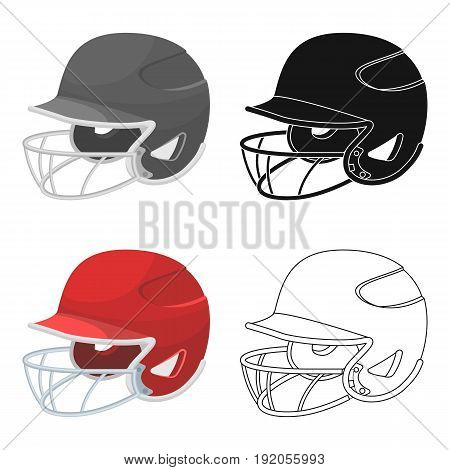 Baseball helmet. Baseball single icon in cartoon style vector symbol stock illustration .