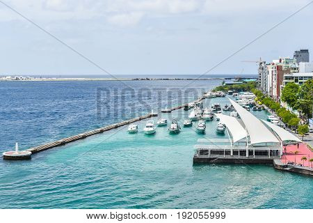 View of city Male and Speed boat or ferry is used as a main transport to bring people