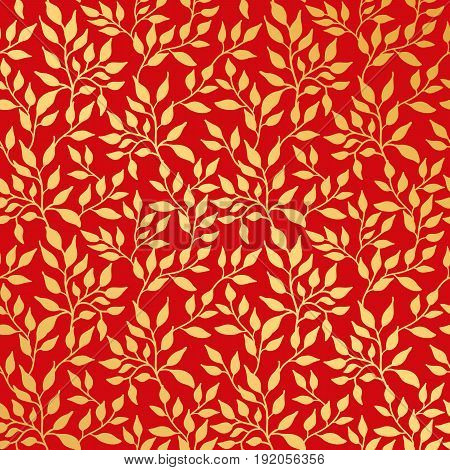 Flowers leaf gold seamless pattern, gold on red. Golden leaves background pattern, backdrop, fabric.