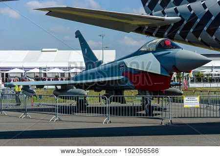 BERLIN GERMANY - JUNE 03 2016: The multirole fighter Eurofighter Typhoon. German Air Force. Exhibition ILA Berlin Air Show 2016