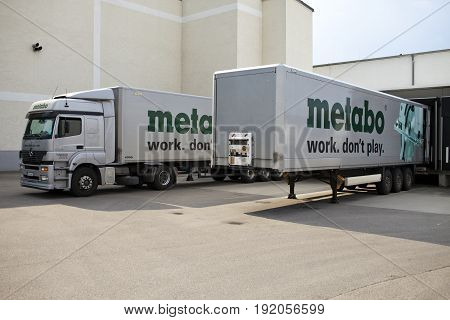 GERMANY - May 30 2012: The cargo truck unloads at Metabo plant