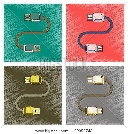 assembly flat shading style icon of usb cable