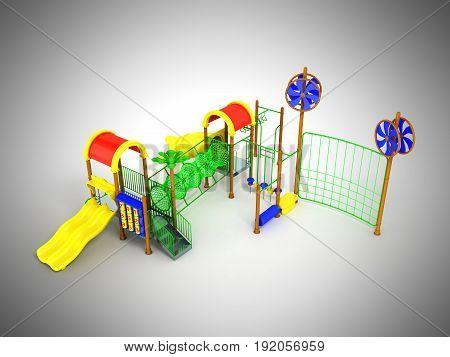 Children's Motley Playground Green 3D Render On A Gray Background
