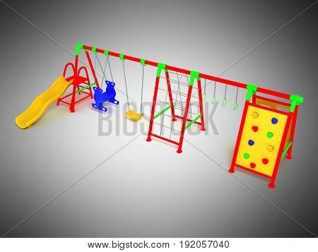 Children's Playground Red 3D Render On Gray Background