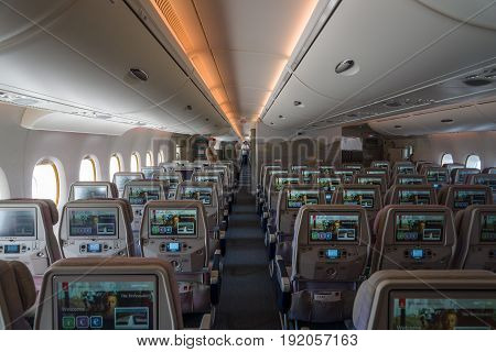 BERLIN GERMANY - JUNE 02 2016: Interior of an economy class of the world's largest aircraft Airbus A380. Emirates Airline. Exhibition ILA Berlin Air Show 2016