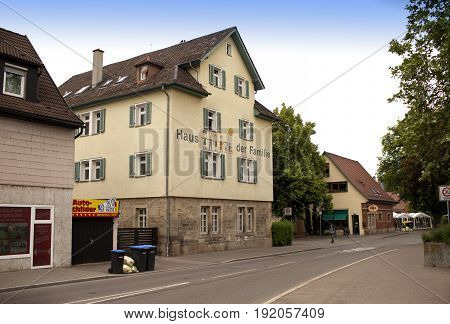 GERMANY - May 29 2012: Nurtingen street- is a town in southern Germany. It is located on the river Neckar.