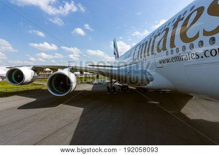 BERLIN GERMANY - JUNE 02 2016: Detail of the wing and a turbofan