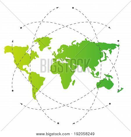 Green world map and blank orbit lines. Illustration template for citybanner website design cover infographics. Editable eps10 Vector. Transparent background.