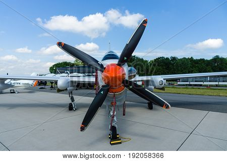 BERLIN GERMANY - JUNE 02 2016: High altitude and reconnaissance aircraft Grob G520 T. Exhibition ILA Berlin Air Show 2016