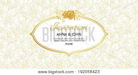 Gold Floral invitation. Golden flowers frame for wedding invitation, greeting cards, happy birthday, thank you, menu. Marriage engagement, gold background. Summer Vintage magnolia, decor Illustration