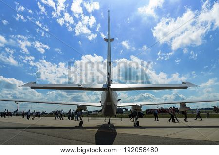 BERLIN GERMANY - JUNE 02 2016: High altitude and reconnaissance aircraft Grob G520 T. Rear view. Exhibition ILA Berlin Air Show 2016