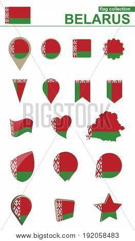 Belarus Flag Collection. Big Set For Design.