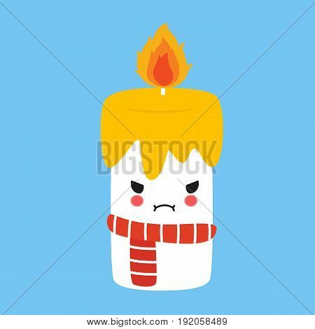 adorable angry candle with its fire blazing