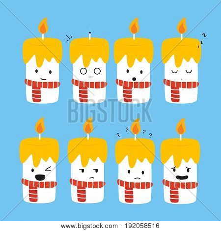 cute candles with various expression vector collection