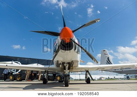BERLIN GERMANY - JUNE 02 2016: Two-seat turboprop training and aerobatic low-wing aircraft Grob G120TP. Exhibition ILA Berlin Air Show 2016