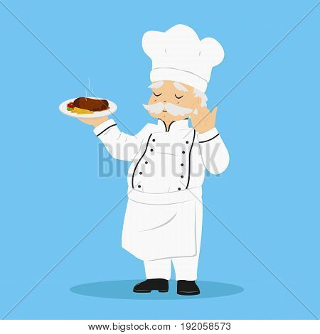 a chef carrying a plate of delicious steak and touching his moustache