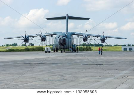 BERLIN GERMANY - JUNE 02 2016: Four-engine turboprop military transport aircraft Airbus A400M Atlas. Exhibition ILA Berlin Air Show 2016
