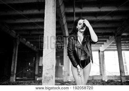 Brunette Plus Size Sexy Woman, Wear At Black Leather Jacket, Lace Panties, Bra With Chain At Hands O