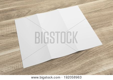 Blank opened 3D rendering tri-fold brochure mock-up with clipping path. Template on wood texture background. Composition No. 5