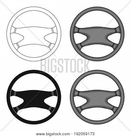 Steering wheel.Car single icon in cartoon style vector symbol stock illustration .