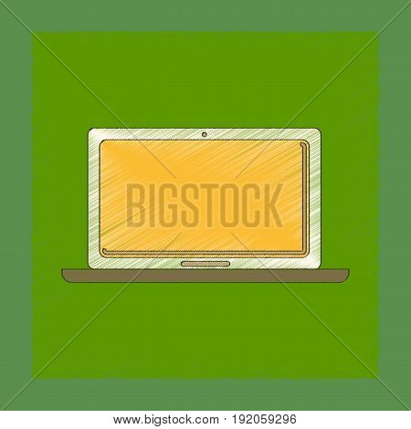 flat shading style icon of technology laptop