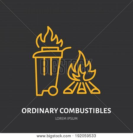 Fire extinguisher flat line sign of ordinary combustibles fire type. Flame protection thin linear icon, pictogram.