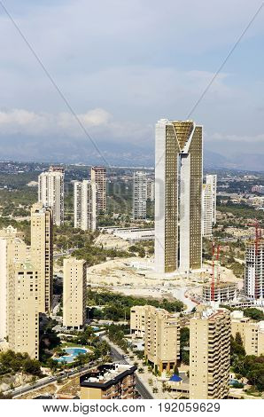 BENIDORM SPAIN - SEPTEMBER 23 2016: The Intempo building with it's 192 meters is the highest building in Benidorm Spain