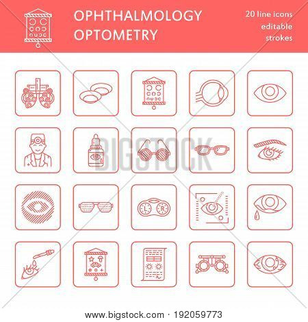 Ophthalmology, eyes health care line icons. Optometry equipment, contact lenses, glasses, blindness. Vision correction thin linear signs for oculist clinic.