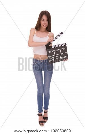 Asian young girl holding clapper board isolated on white background