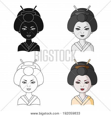 Japanese.Human race single icon in cartoon style vector symbol stock illustration .