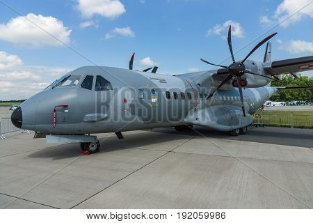 BERLIN GERMANY - JUNE 02 2016: Twin-turboprop tactical military transport aircraft EADS CASA C-295M. Polish Air Force. Exhibition ILA Berlin Air Show 2016