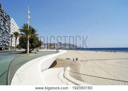 BENIDORM SPAIN - SEPTEMBER 24 2016: Beautiful Poniente beach located in Benidorm Spain