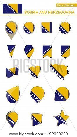 Bosnia And Herzegovina Flag Collection. Big Set For Design.