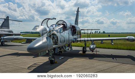 BERLIN GERMANY - JUNE 02 2016: Military Advanced Light Combat Aircraft Aero L-159 ALCA. Czech Air Force. Exhibition ILA Berlin Air Show 2016