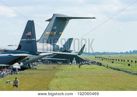 BERLIN GERMANY - JUNE 02 2016: Various aircrafts on the airfield. Exhibition ILA Berlin Air Show 2016